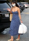 Jordana Brewster does her shopping in a blue maxi dress at the Brentwood Country Mart in Brentwood, California