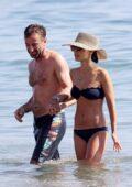 Jordana Brewster dons a navy bikini while enjoying a romantic beach day with boyfriend Mason Morfit in Malibu, California