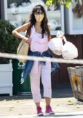 Jordana Brewster dons pink overalls while out to pick up breakfast at the Brentwood Country Mart in Brentwood, California