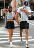 Kaia Gerber flaunts her long legs in a mini skirt while stepping out with boyfriend Jacob Elordi in New York City