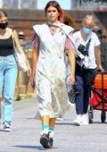 Kaia Gerber looks stylish during a photoshoot in New York City