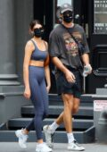Kaia Gerber shows off her stunning figure while heading to the gym Jacob Elordi in New York City