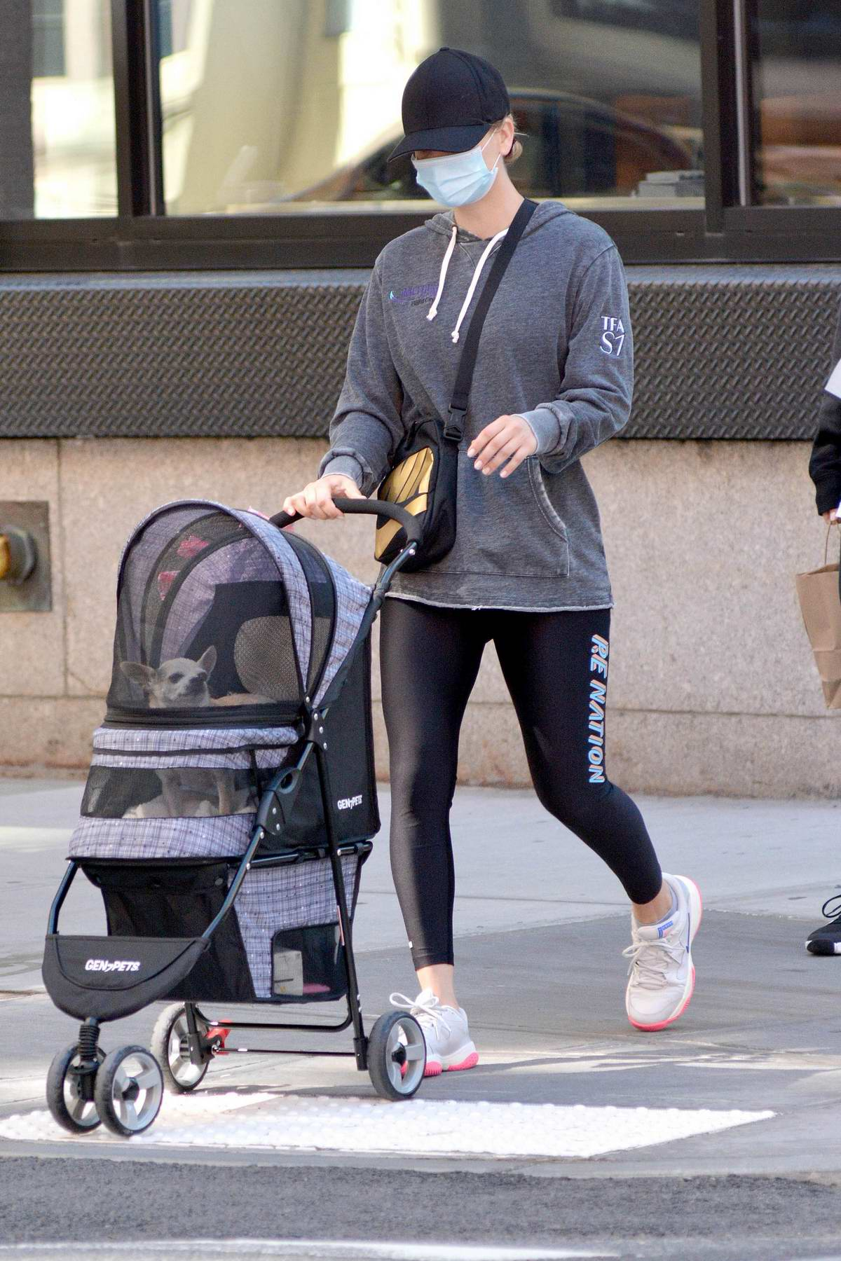 Kaley Cuoco keeps things casual with a hoodie and leggings while out with her sister Briana in New York City