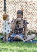 Kate Mara enjoys some quality time with her baby and a friend at the park in Los Angeles