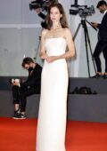 Katherine Waterston attends the Kineo Prize Ceremony during the 77th Venice Film Festival in Venice, Italy