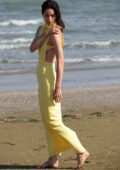 Katherine Waterston spotted in a yellow dress for a photoshoot on the beach during 77th Venice Film Festival in Venice, Italy