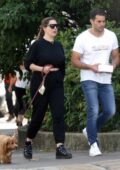 Kelly Brook and Jeremy Parisi enjoy a spot of lunch and walk their pet pooch out in Hampstead, London, UK