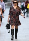 Kelly Brook looks great in a floral print minidress while arriving at the Global Radio Studios in London, UK