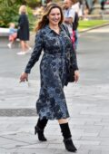 Kelly Brook looks great in a snakeskin patterned dress while arriving at Global Radio Studios in London, UK
