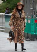 Kelly Brook looks stylish as she arrives at the Global Radio Studios in London, UK