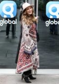 Kelly Brook shows her bohemian style as she arrives at the Global Radio Studios in London, UK