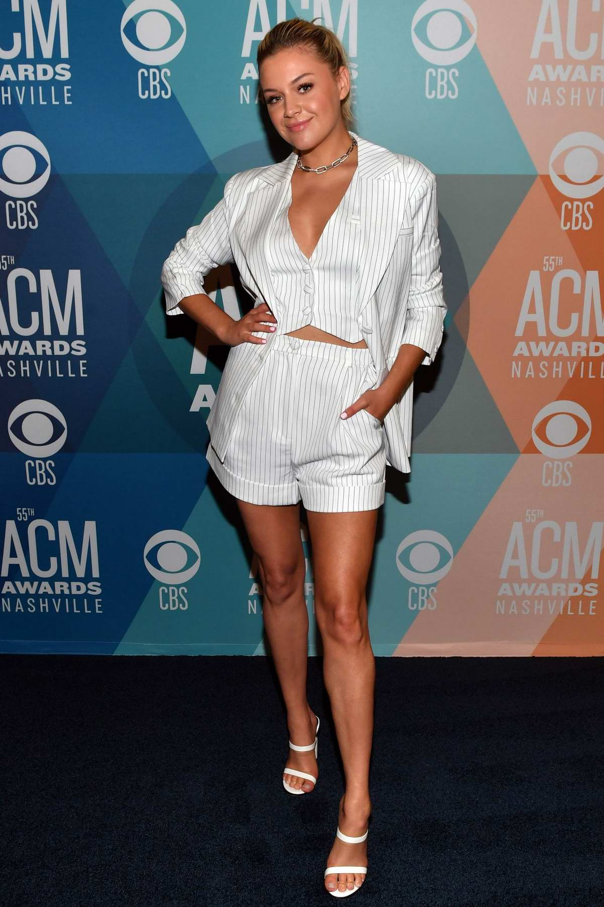 Kelsea Ballerini attends virtual radio row during the 55th ACM Awards in Nashville, Tennessee