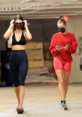 Kendall Jenner and Hailey Bieber show off their model figure while shopping groceries in Los Angeles