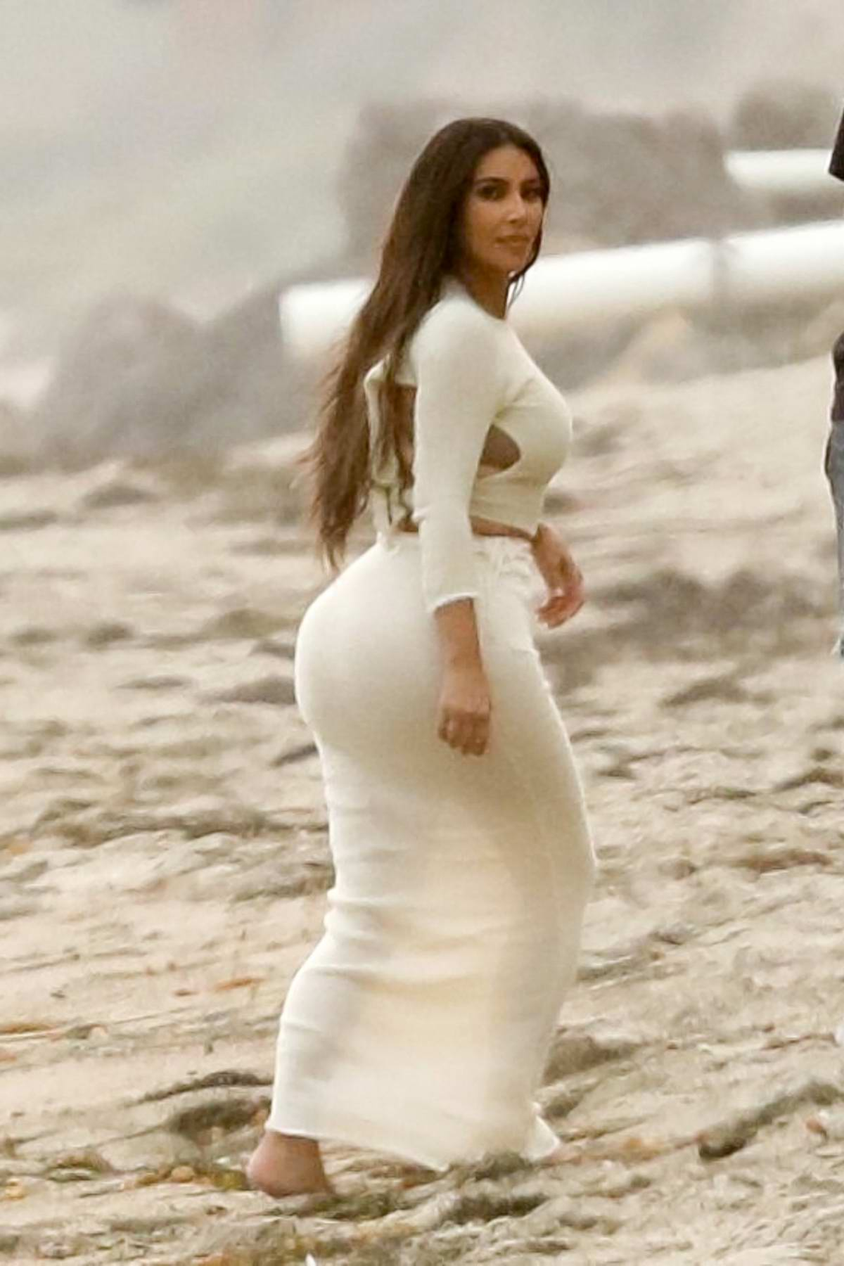Kim Kardashian, Khloé Kardashian and Scott Disick seen filming for KUWTK on the beach in Malibu, California