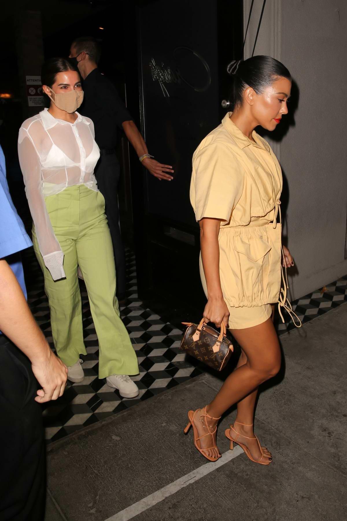 Kourtney Kardashian and Addison Rae seen leaving dinner at Craig's in West Hollywood, California
