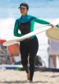 Kourtney Kardashian seen having fun during a surf lesson in Malibu, California