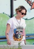 Kristen Stewart stops at a pet store while out running errands with a friend in Los Feliz, California
