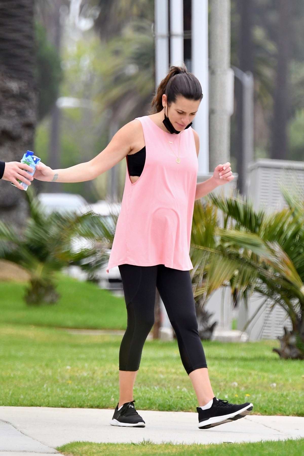 Lea Michele seen for the first time since having her baby as she steps out for a walk with Zandy Reich in Santa Monica, California