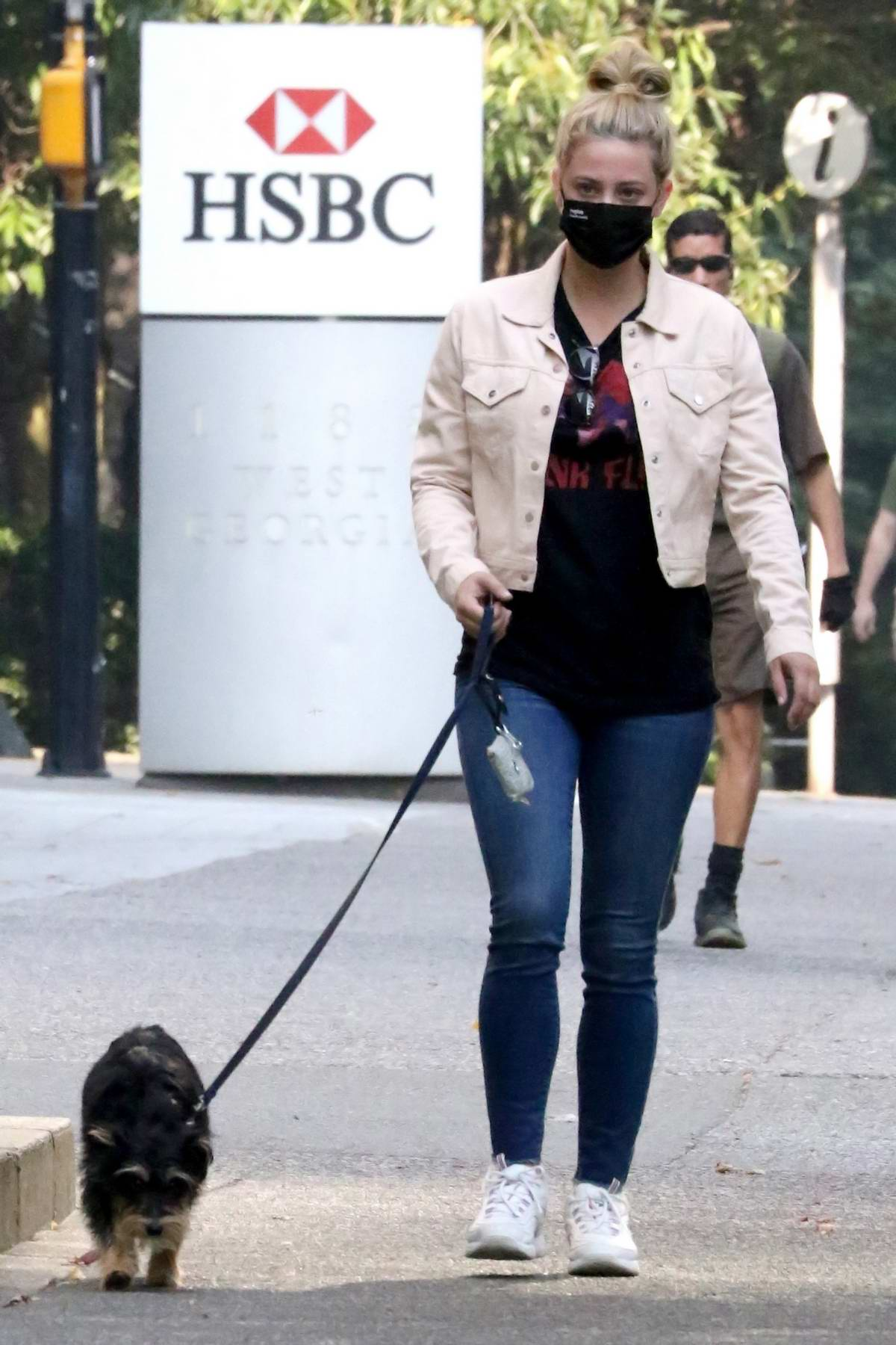 Lili Reinhart takes her dog Milo for a walk before heading to work on Riverdale in Vancouver, Canada