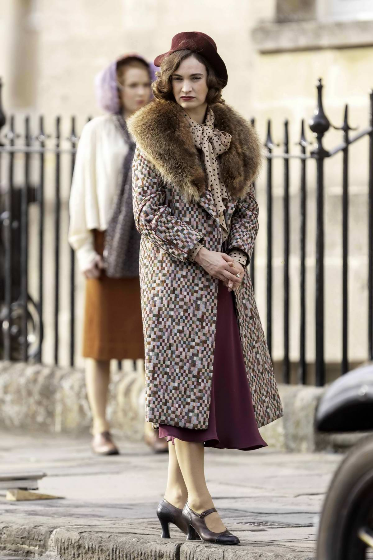 Lily James seen filming scenes for the new BBC romantic comedy drama 'The Pursuit Of Love' in Bath, Somerset, UK