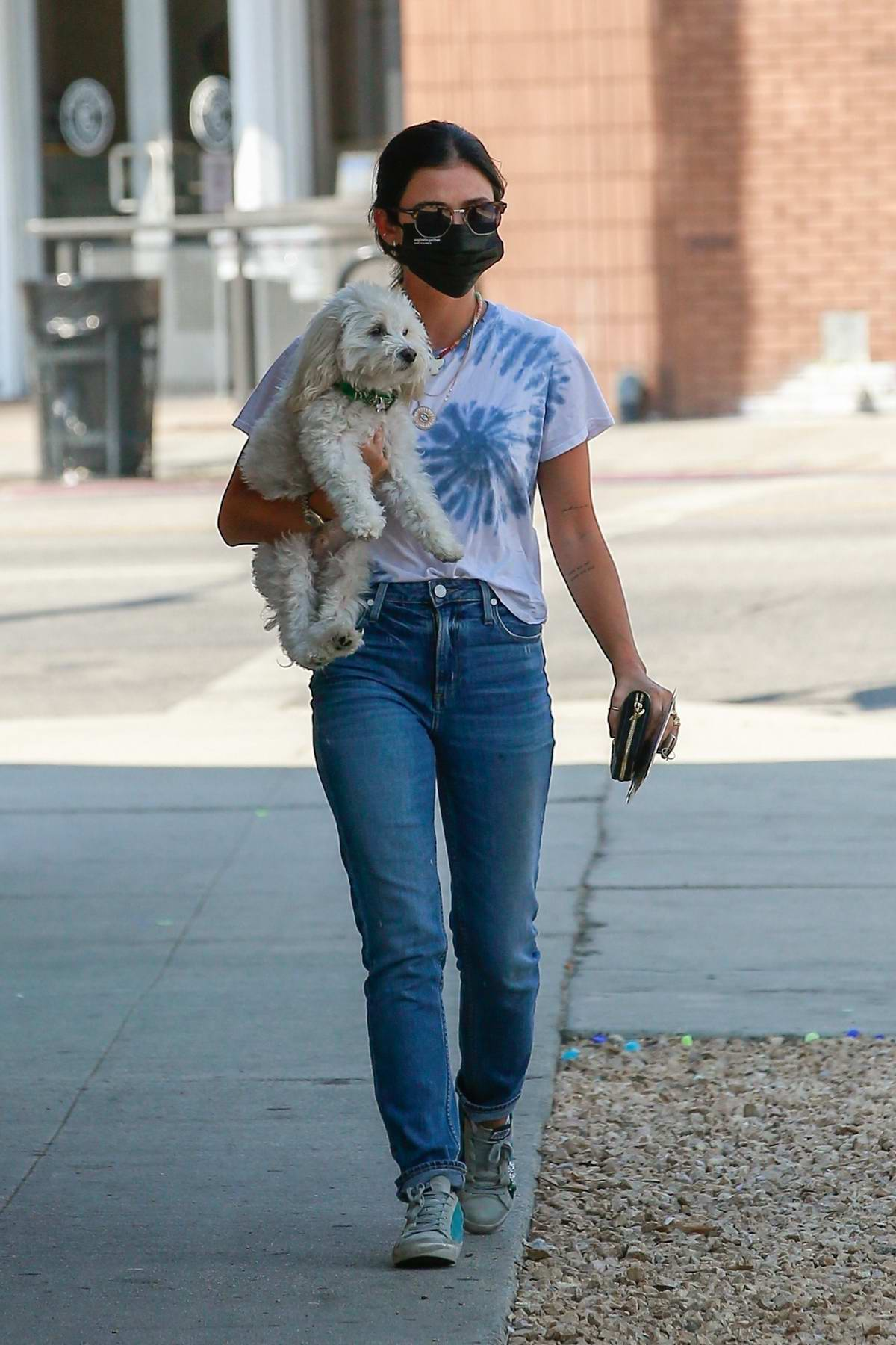 Lucy Hale brings her dog along as she stops by the Westfield fashion square in Sherman Oaks, California