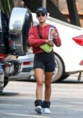 Lucy Hale sports red hoodie and black shorts for a solo hiking session in the Hollywood Hills, Los Angeles