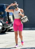 Lucy Hale stands out in hot pink legging shorts while heading for a workout in Studio City, California