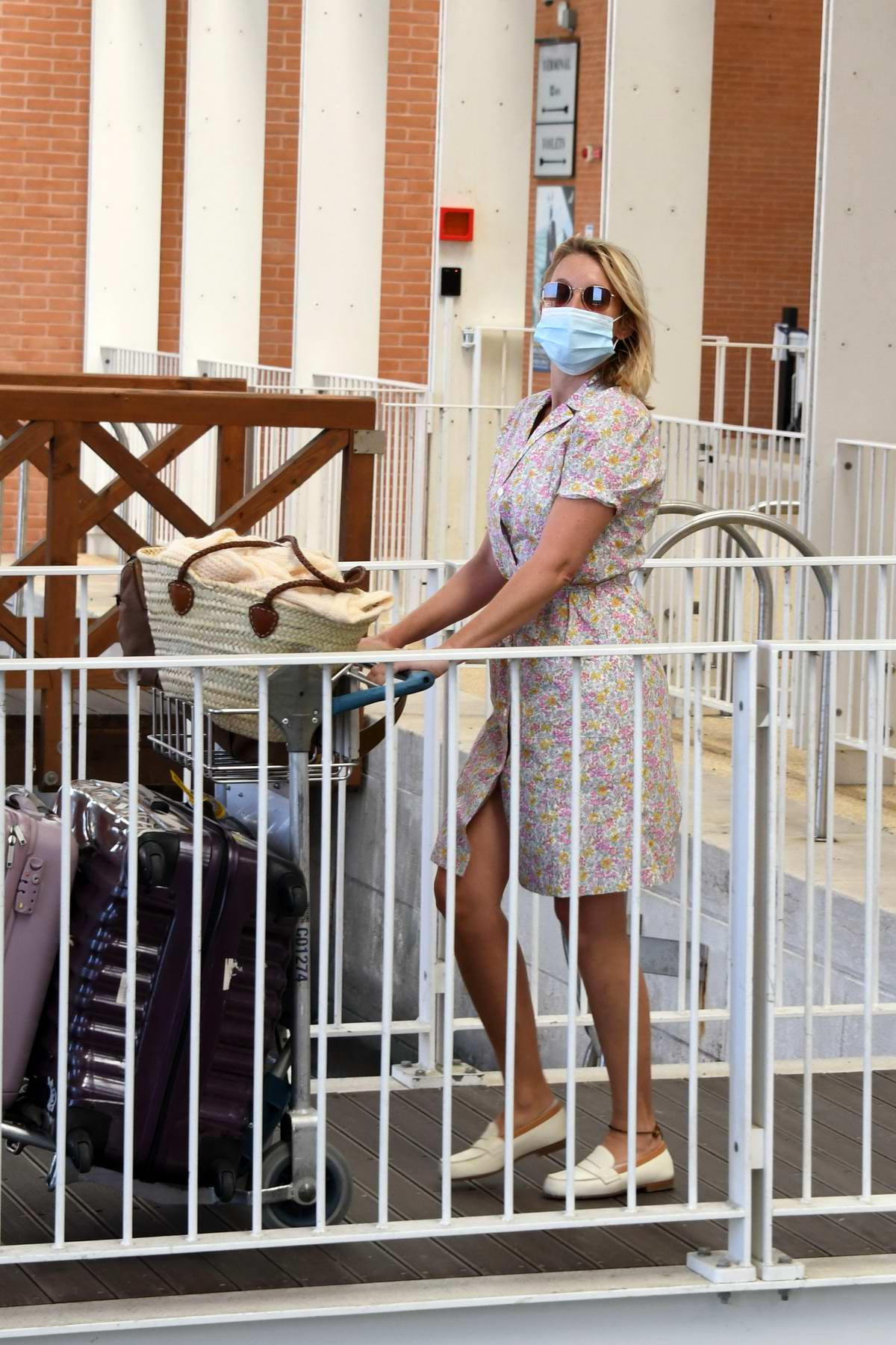 Ludivine Sagnier seen arriving at Venice Airport during the 77th Venice Film Festival in Venice, Italy