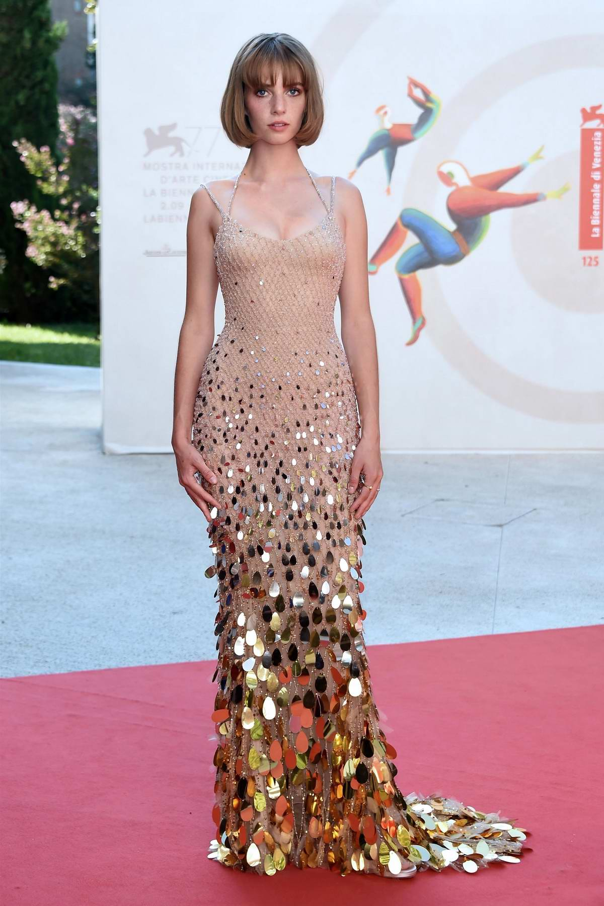 Maya Hawke attends the Premiere of 'Mainstream' during the 77th Venice Film Festival in Venice, Italy