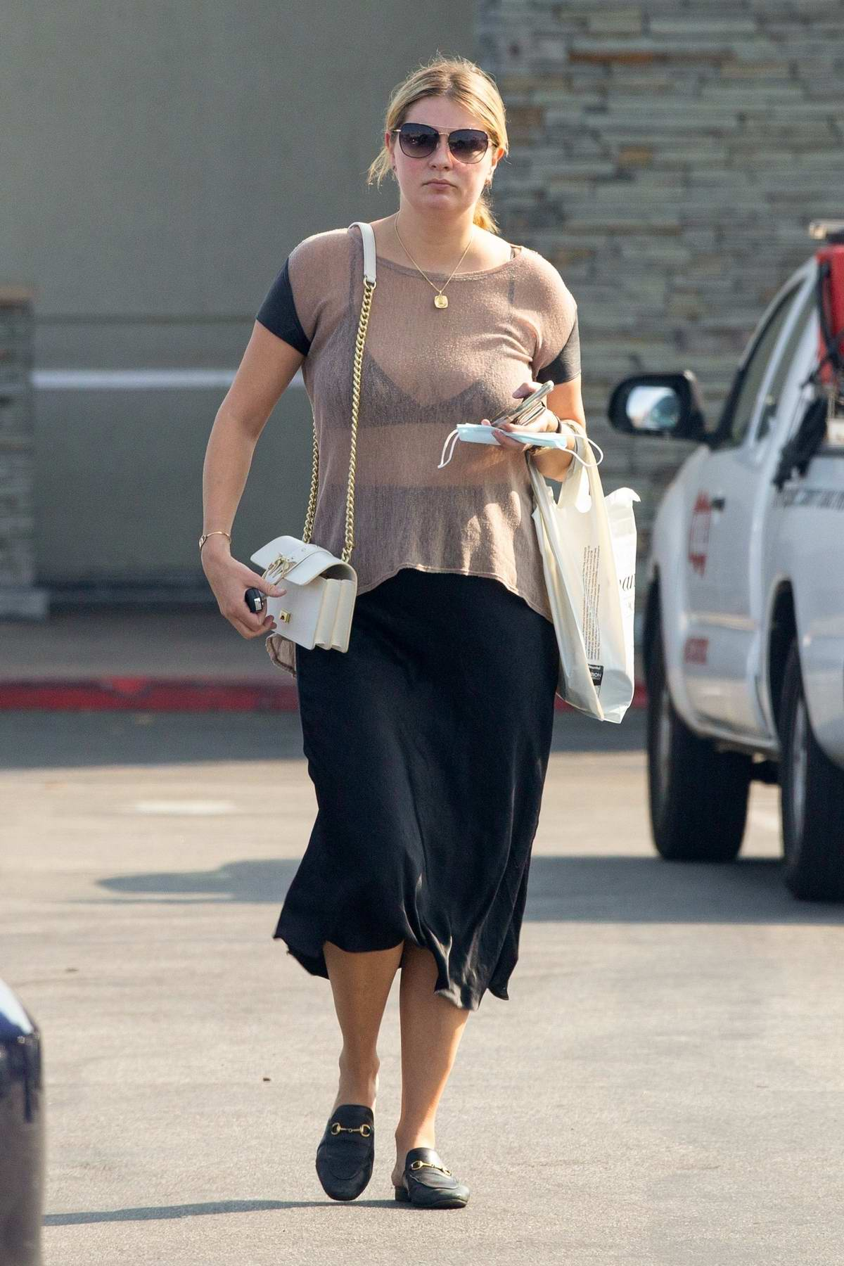 Mischa Barton steps out wearing a sheer top for some shopping in Los Angeles