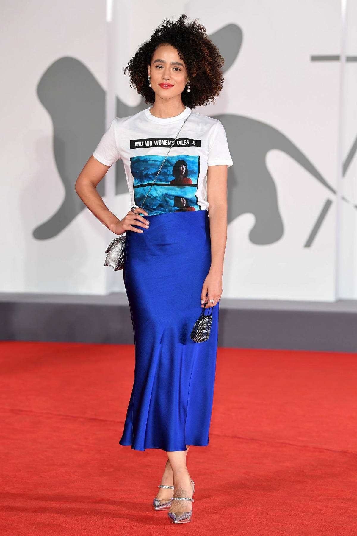 Nathalie Emmanuel attends the Premiere of 'Revenge Room' during the 77th Venice Film Festival in Venice, Italy