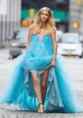 Nicky Hilton looks stunning in a teal blue dress during photoshoot on the streets of New York City