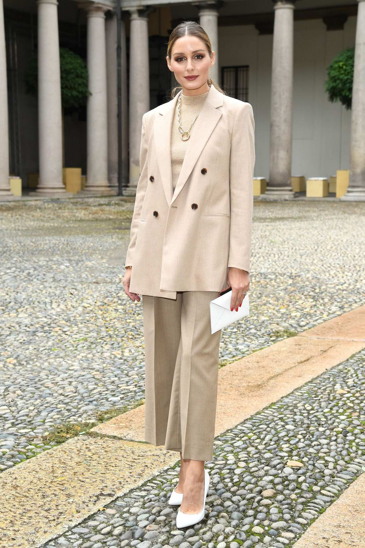 Olivia Palermo attends the Boss fashion show during the Milan Fashion Week in Milan, Italy