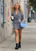 Peyton Roi List looks great in a short blazer dress as she makes a coffee run in Los Angeles