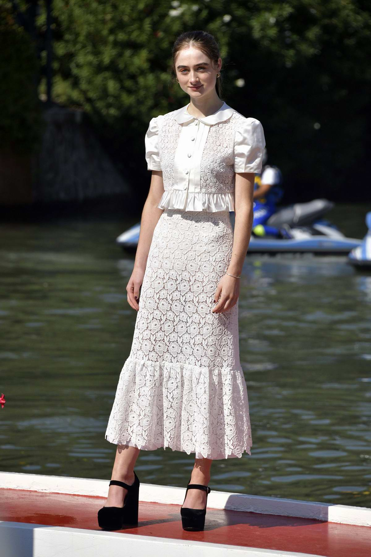 Raffey Cassidy seen arriving at the Excelsior during the 77th Venice Film Festival in Venice, Italy