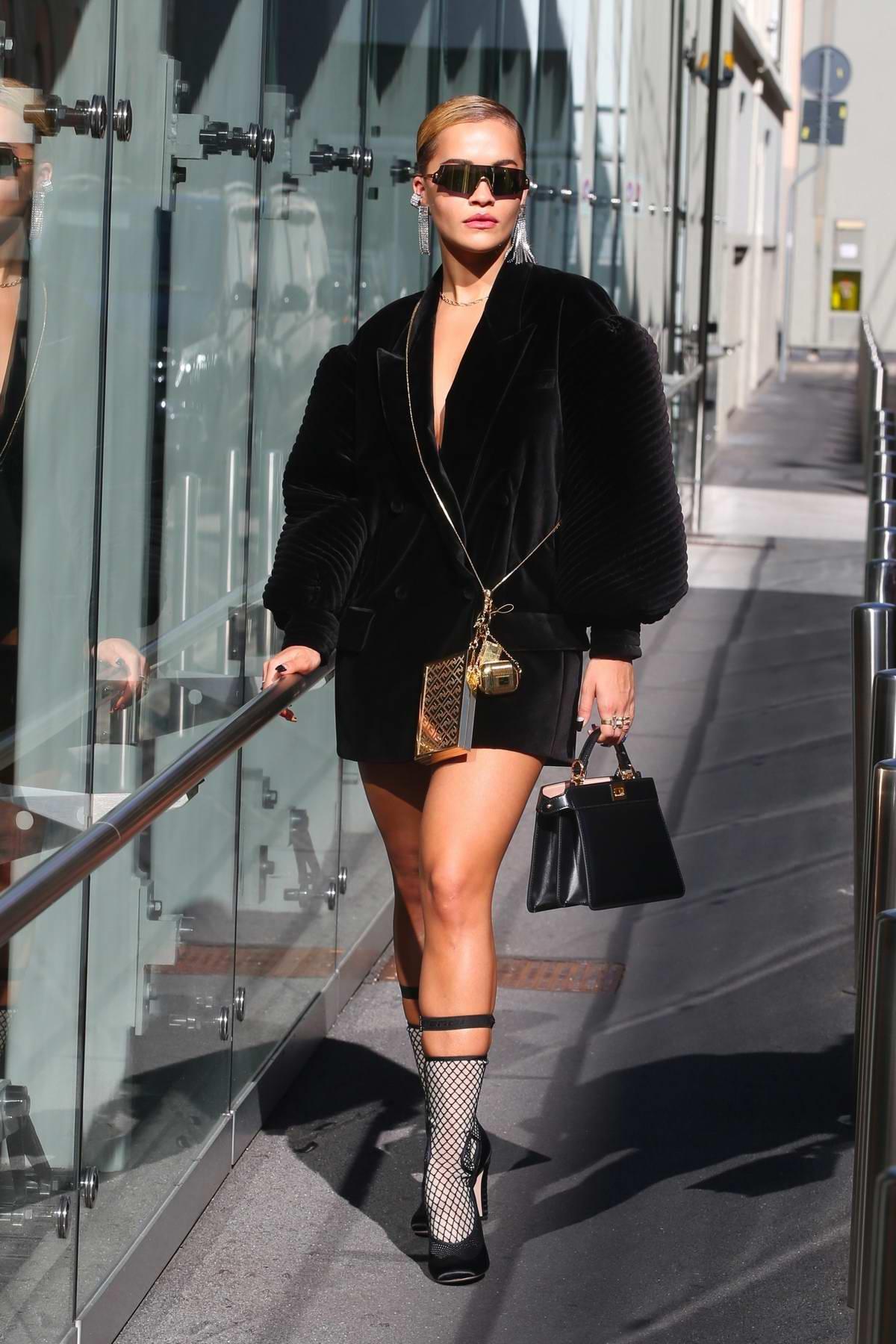 Rita Ora attends the Fendi's Spring-Summer 2021 show during Milan Fashion Week in Milan, Italy
