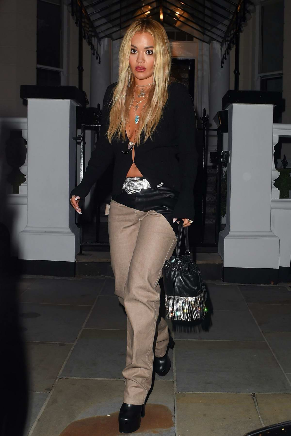 Rita Ora keeps it stylish as she heads for a night out in London, UK