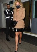 Rita Ora looks stylish in beige blazer and black leather shorts as she leaves the Broadway cocktail bar in Muswell Hill, London, UK