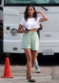 Shay Mitchell seen on set for a new commercial for REVLON in downtown Los Angeles