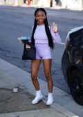 Skai Jackson waves for the camera as she arrives for practice at the DWTS studio in Los Angeles