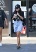 Vanessa Hudgens stops at Coffee Bean & Tea Leaf to grab a cold drink while out in Los Angeles