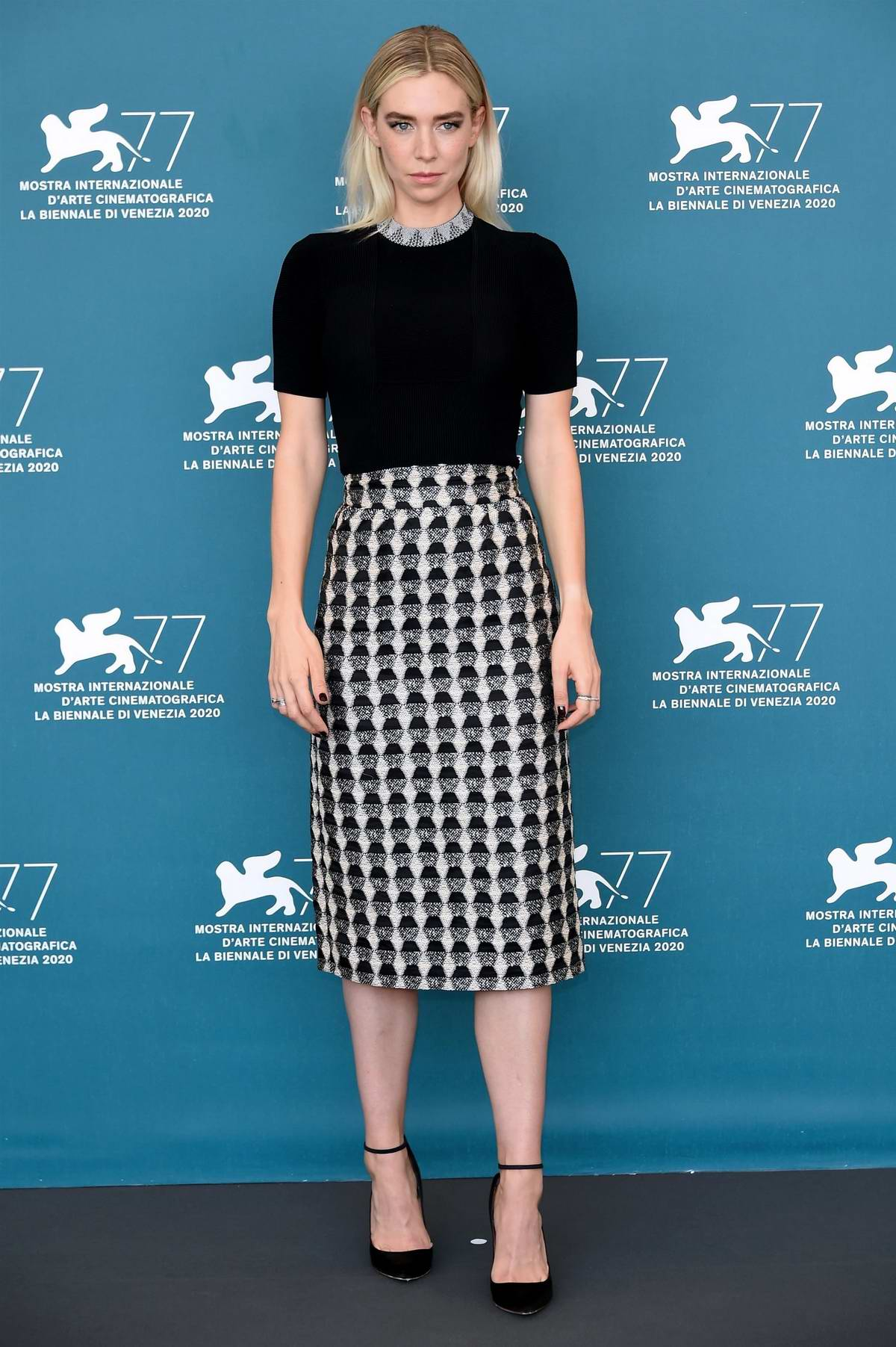 Vanessa Kirby attends 'The World to Come' Photocall during the 77th Venice Film Festival in Venice, Italy