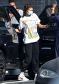Zendaya keeps it safe wearing a face mask as she arrives at a studio in Los Angeles