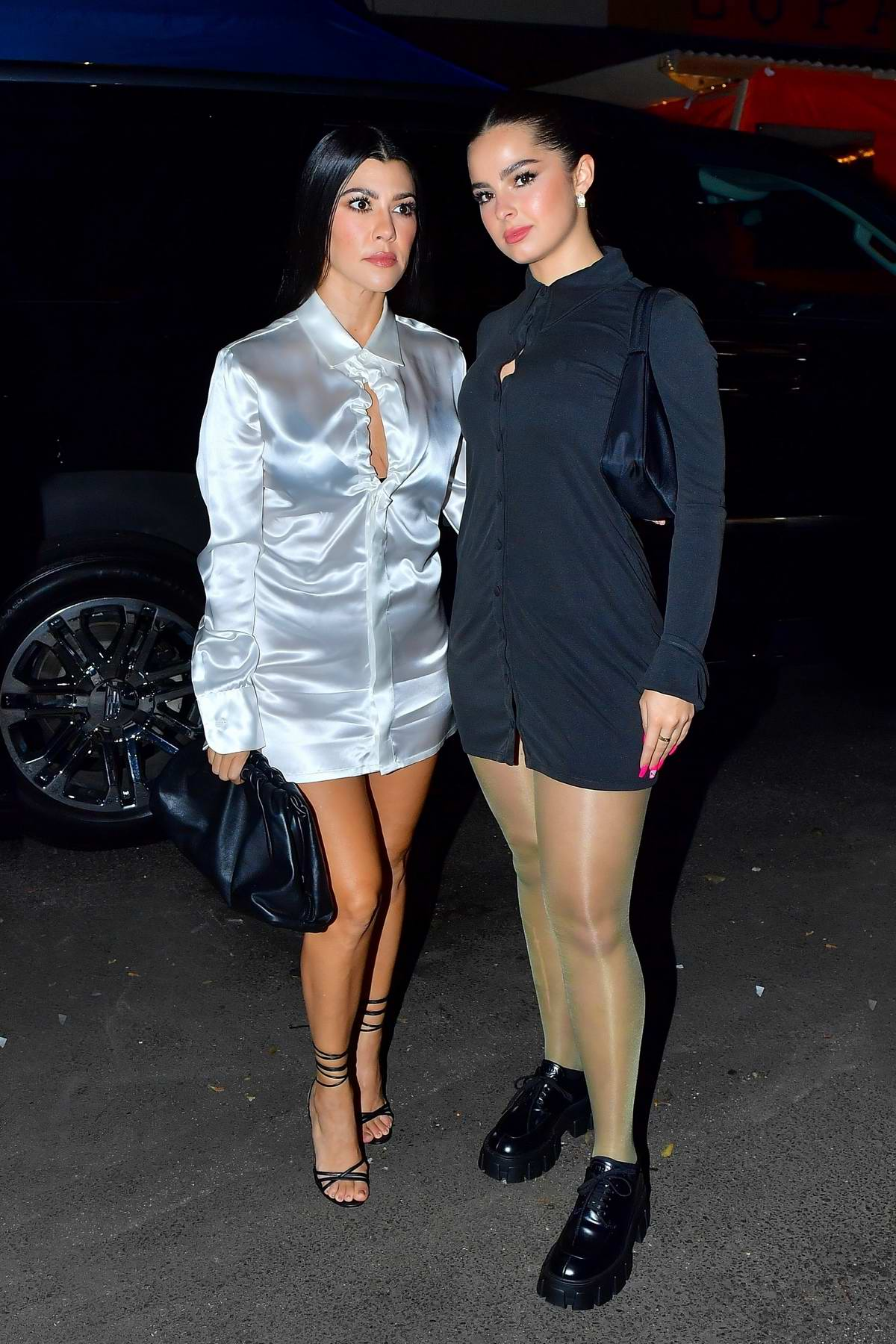 Addison Rae and Kourtney Kardashian look striking as they step out for dinner in New York City