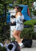 Addison Rae puts on a leggy display while arriving at a friend's house in Los Angeles