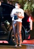 Addison Rae rocks brown leather pants during a night out at the San Vicente Bungalow in West Hollywood, California