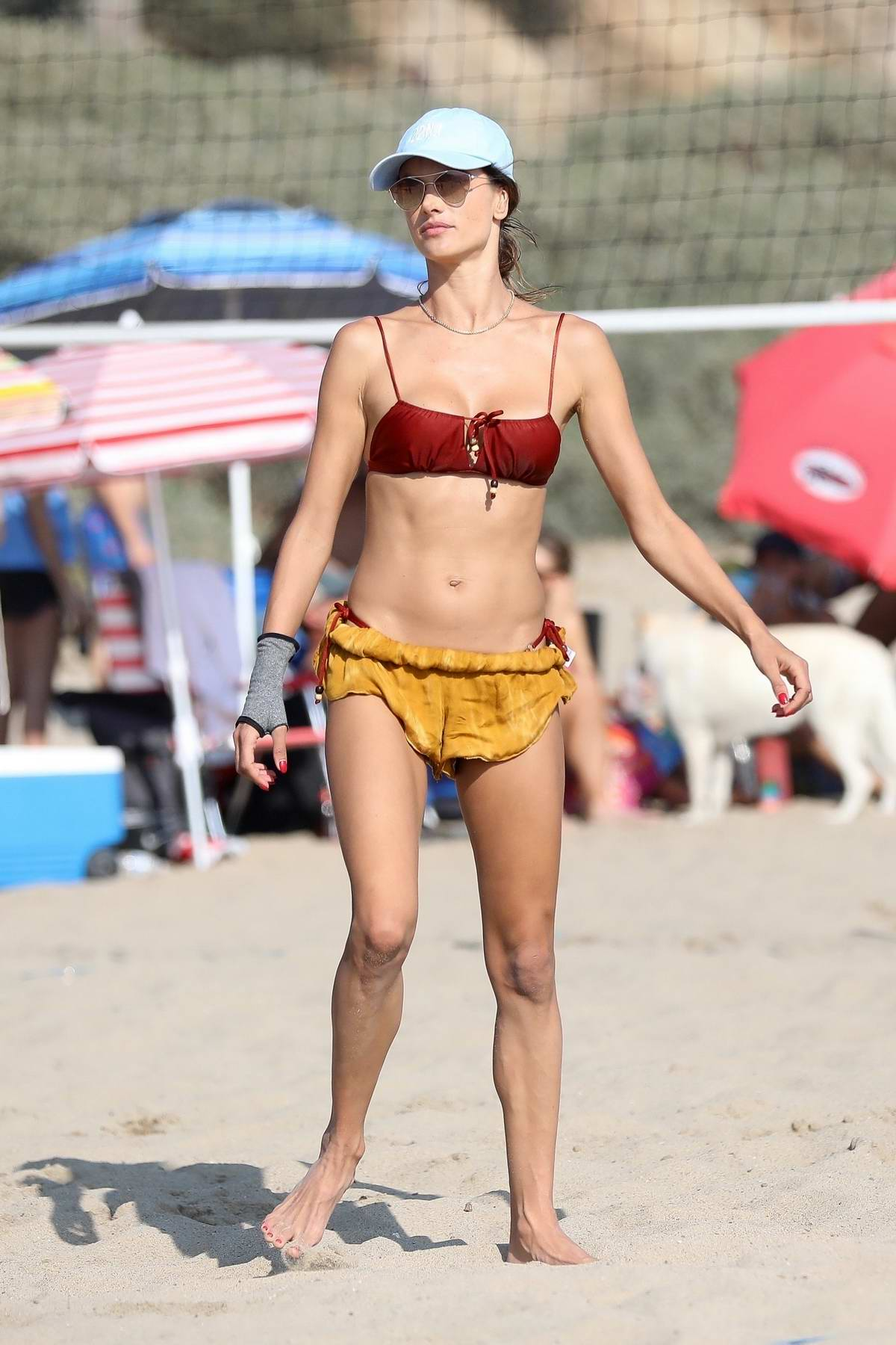 Alessandra Ambrosio enjoys another day of beach volleyball with friends in Santa Monica, California
