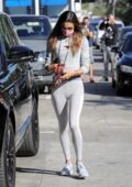 Alessandra Ambrosio rocks a grey hoodie and leggings for a workout at Dogpound gym in West Hollywood, California