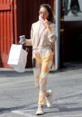Alessandra Ambrosio sports tie-dye sweats while out for coffee at the Brentwood Country Mart in Brentwood, California