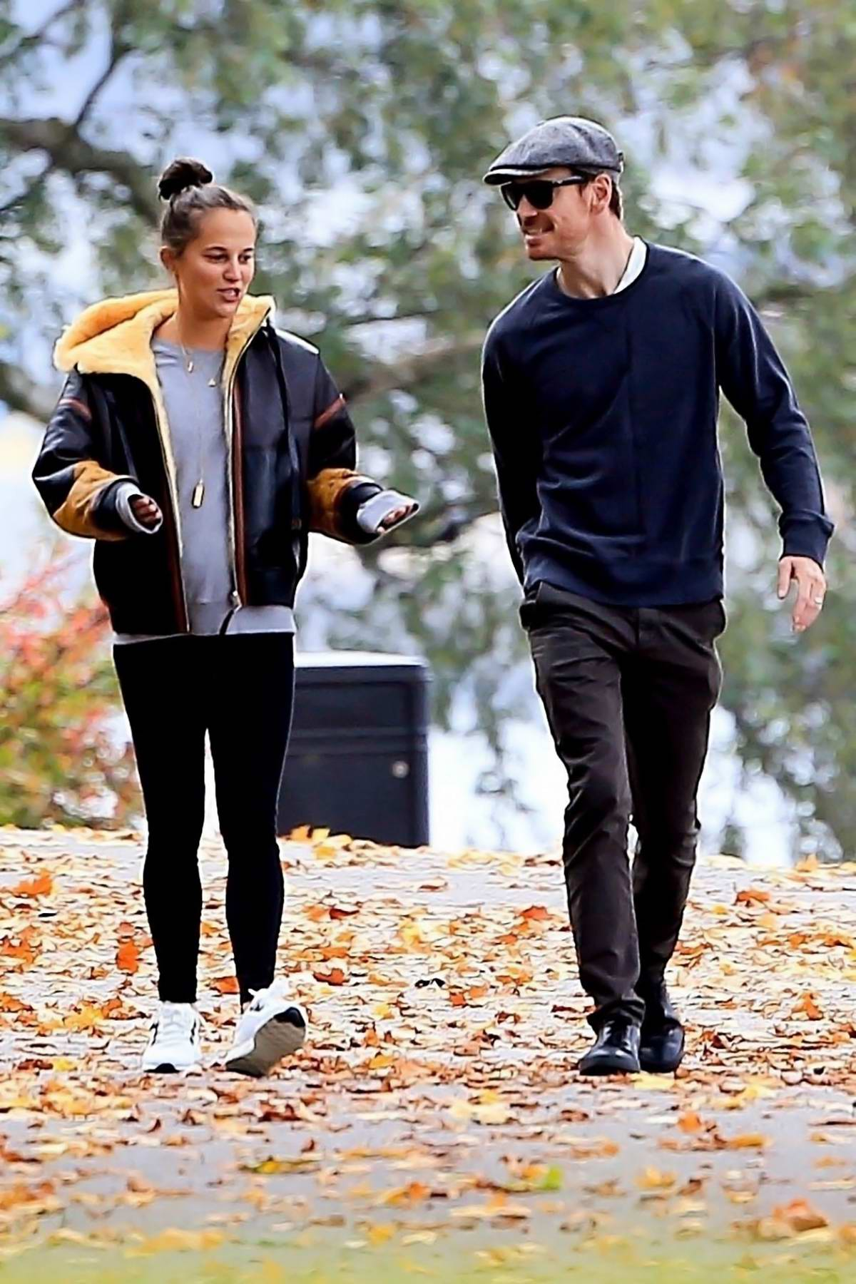 Alicia Vikander and Michael Fassbender enjoy a peaceful walk in Stockholm, Sweden